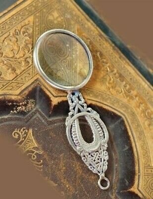 """Victorian Trading Co Art Deco Magnifying Glass Pendant Silver 4"""""""