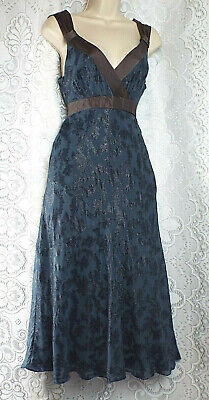 MONSOON  Cocktail Dress Empire Design Slate Blue & Black Sparkle Print  Size 10