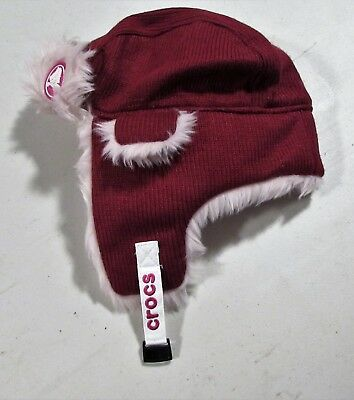 Kids Aviator Crocs Hat 5 To 7 yrs Maroon With Pink Faux Fur Slightly Used