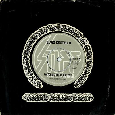 """Elvis Costello 7"""" vinyl single record Watching The Detectives - 4-Prong UK"""