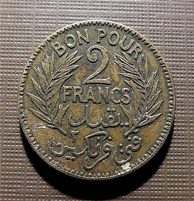 Tunisia - 1921 2 Francs Chamber Commerce Coinage, Paris Mint, Reeded-Km#248 Okso