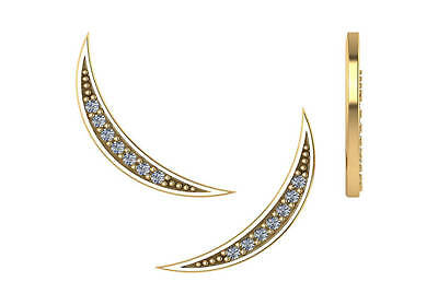 0.14 ct F VS2 crescent moon round diamond ear climber earrings 14k yellow gold