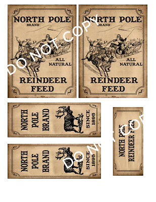 North Pole Reindeer Feed Label Set #FH348 Make Your Own Box