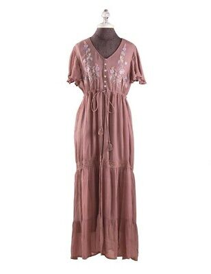 Victorian Trading Co New April Cornell Embroidered Camelot Dress Dusty Rose XL