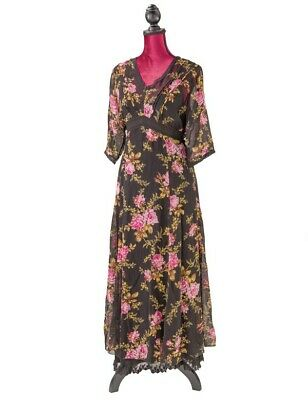 Victorian Trading Co April Cornell Midnight Rose Floral Dress Black & Pink LG