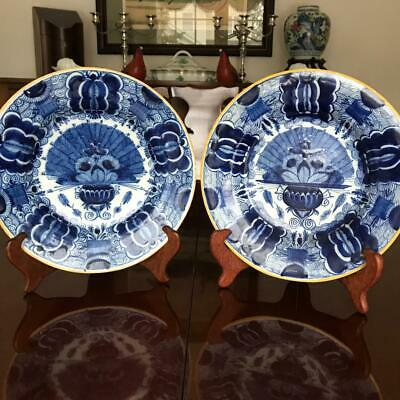 Pair of Antique Dutch Delft Blue and White Fantail Plates c. 1740