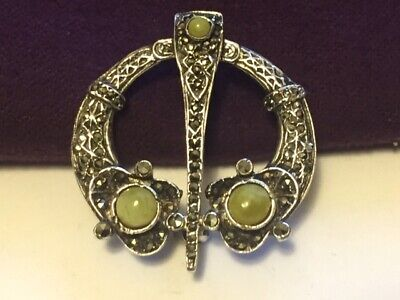 Irish Celtic Sterling Silver Connamara Marble Brooch Antique.-B727