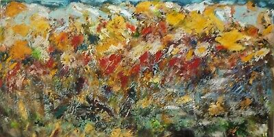 Framed Original Oil Painting 129.60x66.80cm (51.02x26.29inch), Abstract Handmade