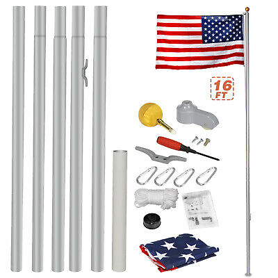 16ft Aluminum Sectional Flagpole Ball Top Kit Outdoor Halyard Pole+1PC US Flag