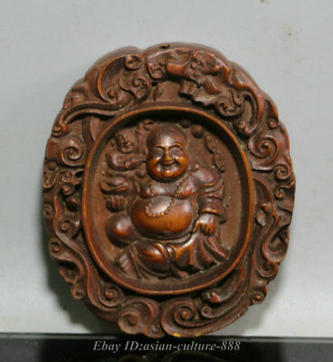 "3"" China Wood Boxwood Carved Happy Laugh Maitreya Buddha Yuanbao Amulet Pendant"