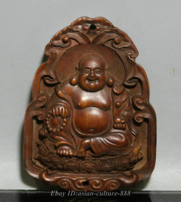 68MM Chinese Wood Boxwood Carved Happy Laugh Maitreya Buddha Ruyi Amulet Pendant