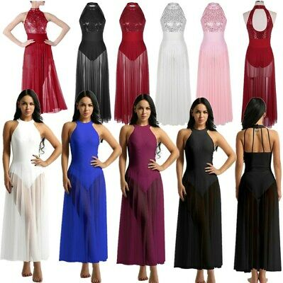 Womens Ballet Leotard Dance Dress Mesh Maxi Skirt Adult Mock Neck High-Low Dress