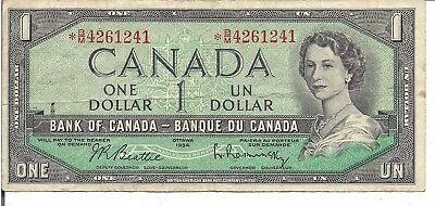 Canada, $1 ,Qeii , Replacement Note *B/M, 1954