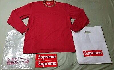 e4eb0fe78488 Supreme Multicolor Striped Rib L S Top FW17 red New + 2 Box logo stickers
