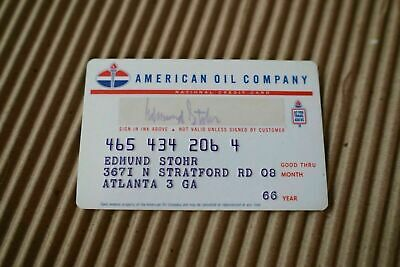 Vintage AMERICAN OIL COMPANY CREDIT CARD 1960s Standard/Gas/Service/Station