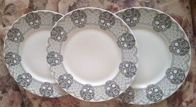 3 Porcelain Skull Lace Dinner Plates by 222 Fifth Goth Halloween Black Macabre
