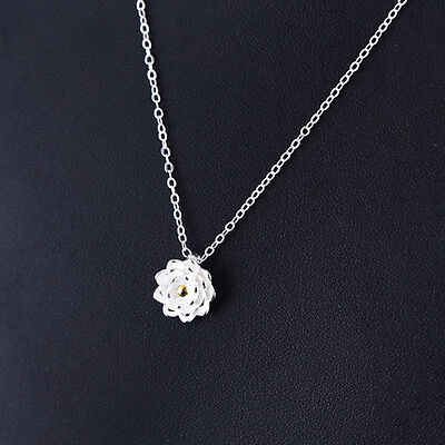 925 Silver Lotus Flower Pendant Charm Necklace For Women Jewelry