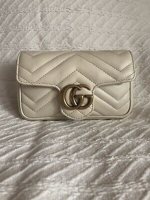 d81cd0cfc32 Authentic Gucci GG Marmont Matelasse Leather Mini Shoulder Crossbody Bag  White