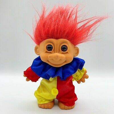 "Russ Troll Doll 8"" Large Birthday Party Clown Red Hair Toy Figurine Missing Hat"