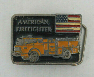 Vintage American Firefighter Belt Buckle Yellow Fire Truck US Flag USA Made