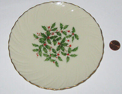 """Lenox Special Holly & Berry Bread And Butter Gold Trim Plate 6 1/8"""" Dia -Usa -Gd"""