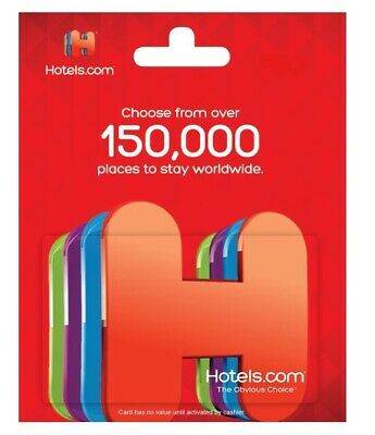 $50 / $100 Hotels.com Physical Gift Card - FREE 1st Class Mail Delivery - Sealed