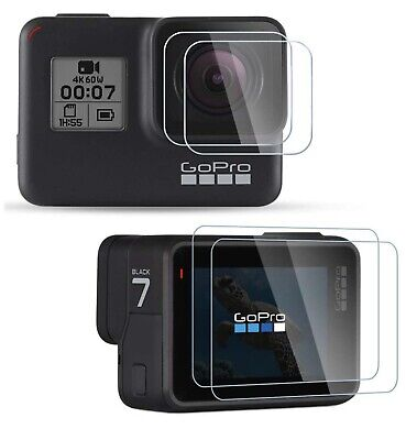 US-Tempered Glass Screen Protector For GoPro Hero 7 6 5 Lens Caps Anti-Scratch