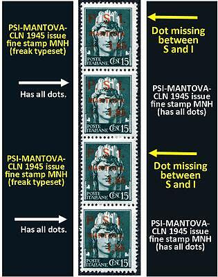 Four stamps PSI-MANTOVA-1945 CLN two fine MNH and two fine typeset freaks (#149)