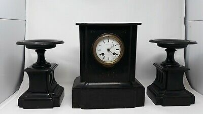 Antique French Guilmet Aine of Paris mantel clock and pair of candelabras
