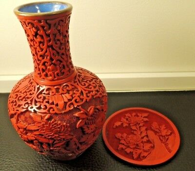 Chinese Hand Carved Red Cinnabar Lacquer Vase Enamel