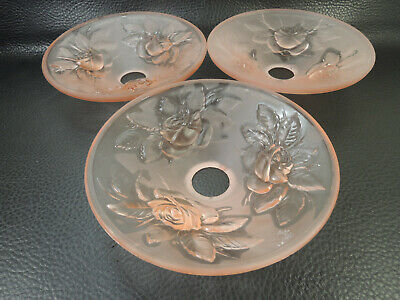 French Art Deco Frosted Rose Glass Chandelier by Muller Freres Signed