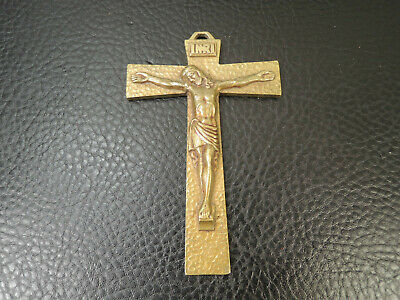 French Art Deco Religious Ormolu gild Bronze Pectoral Cross Crucifix by R Artaud