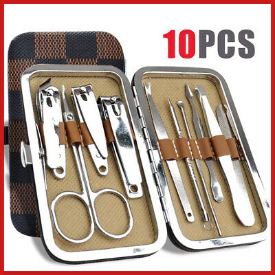 10Pcs Stainless Grooming Nail Clippers Kit Knife Cuticle Pedicure Set Manicure