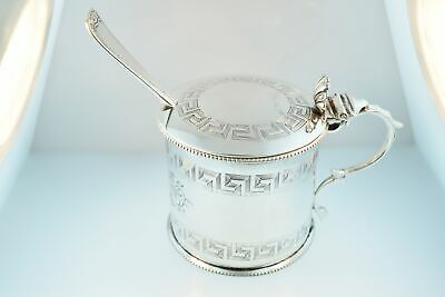 """2-1/2"""" Antique English Silver Plated Mustard Jar with Glass Liner & Gorham Scoop"""