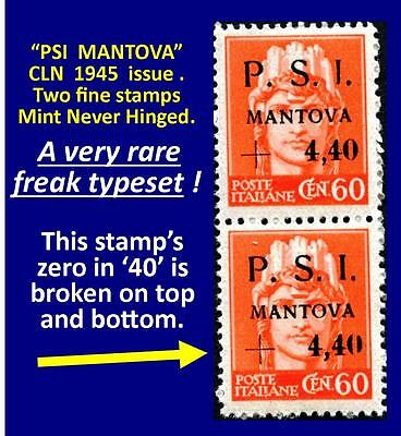Two stamps PSI-MANTOVA 1945 CLN - one fine MNH and one RARE typeset freak (#166)