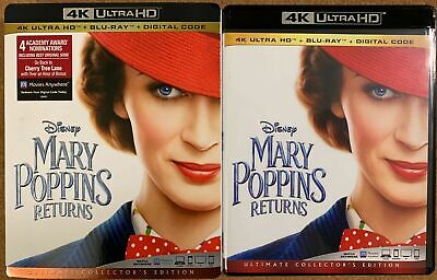 Disney Mary Poppins Returns 4K Ultra Hd Blu Ray 2 Disc Set + Slipcover Sleeve