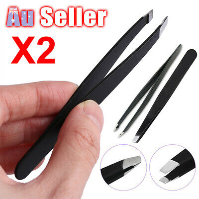 2pcs Tip sanding Stainless Steel Slanted Clip Tweezer Eyebrow Plucker Eyelash