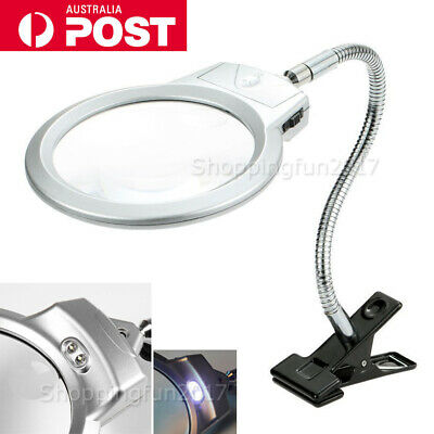 Large Lens Lighted Lamp Desk Magnifier Magnifying Glass with Clamp LED Light