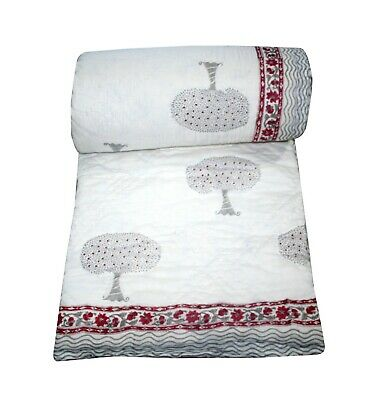 Tree Hand Block Print Cotton Quilt, Jaipuri Quilting, Bedding Throw Blanket King