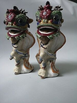 Ancient Chinese Traditional Lion / Dragon Dance Porcelain Figurines