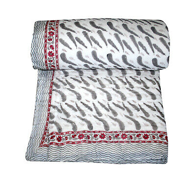 Jaipur Made 100% Cotton Hand Print Quilt Quilted Blanket Summer/Winter King Size