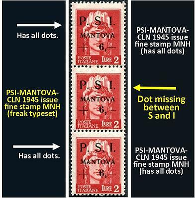 Three stamps PSI-MANTOVA 1945 CLN two fine MNH and 1 fine typeset freaks (#170)
