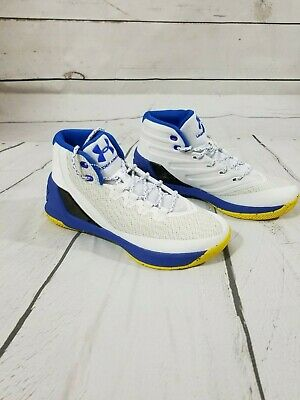 c6b9a584dcef Under Armour Curry 3 Dub Nation Home Mens 1269279-102 White Blue Shoes Size  9