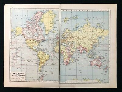 Vintage Colour Map 1920, THE WORLD SHOWING BRITISH EMPIRE, Harmsworth's Atlas