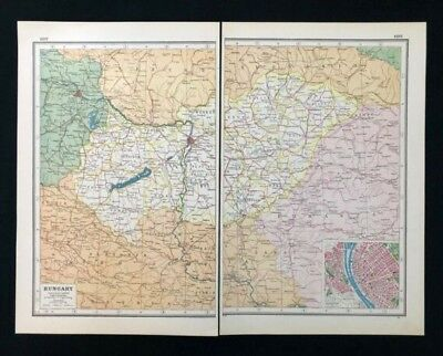 Vintage Colour Atlas Map 1920, HUNGARY, Inset of Budapest, Harmsworth's Atlas