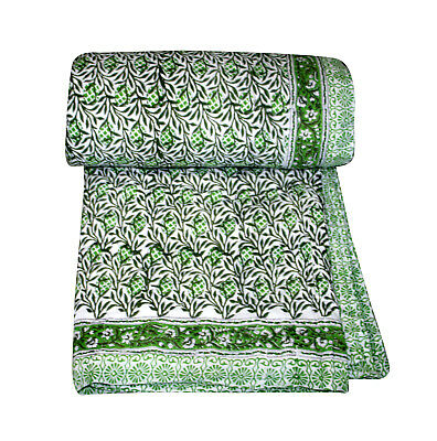 Green Reversible Hand Block Print Palm Tree Quilt 100% Cotton Blanket Throw Bed