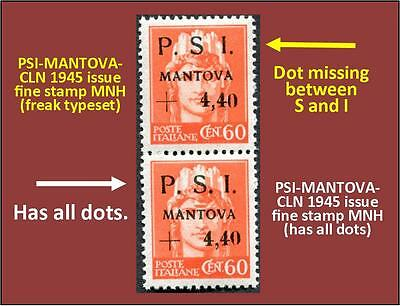 Two stamps PSI-MANTOVA 1945 CLN - one fine MNH, and 1 fine typeset freak (#169)