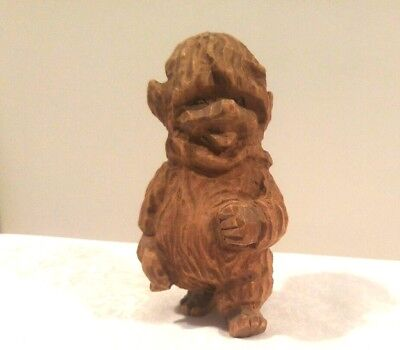 Vintage Hand Carved Wooden Wood Gnome Elf Troll Figurine Doll Norway ?