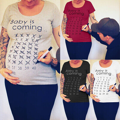 7e8eb0c9b3ac4 Baby Countdown T-Shirt Funny Pregnancy Maternity Loose Blouse Tee Clothes  Jumper
