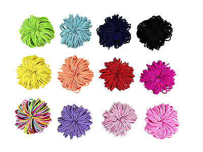 50 x Hair Ties Elastic Band Snagless Ponytail Tie School Bubbles Various Colours